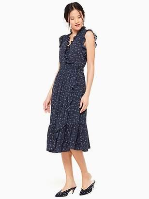 Kate Spade Wild Roses Ruffle Wrap Dress, Adriatic Blue - Size 0
