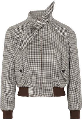 Harrington Checked Stretch Wool-blend Bomber Jacket - Gray