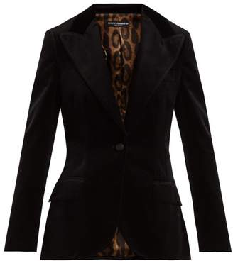 Dolce & Gabbana Single Breasted Velvet Blazer - Womens - Black