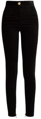 Balmain High Rise Velvet Trousers - Womens - Black