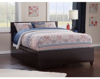 Atlantic Furniture Orlando Platform Bed with Matching Foot Board with 2 Urban Bed Drawers in Multiple Colors and Sizes