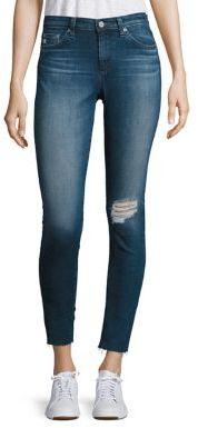 AG Middi Distressed Raw Hem Skinny Jeans $220 thestylecure.com