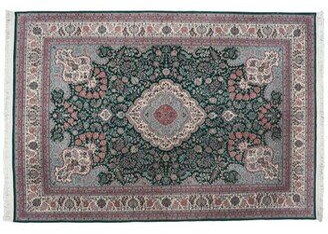 Aga John Oriental Rugs One-of-a-Kind Tabriz Hand-Knotted 9' x 12' Wool Green/Pink Area Rug Aga John Oriental Rugs