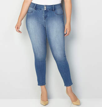 Avenue Virtual Stretch 3-Button Jegging in Med Wash
