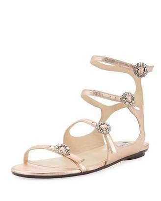 098f3cfc10aa91 Jimmy Choo Naia Metallic Flat Sandal with Crystal Buckles