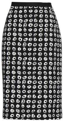 Oscar de la Renta Printed Cotton-blend Boucle-tweed Pencil Skirt