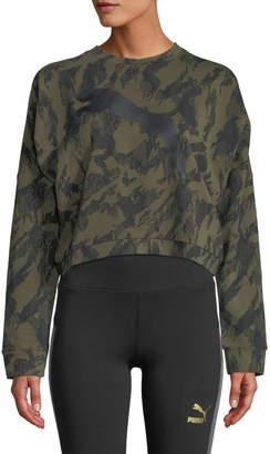 Puma Rebel Cropped Camo Crewneck Sweatshirt