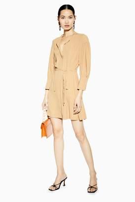 Topshop Womens Pintuck Mini Dress - Camel