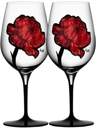 Kosta Boda Crystal & Painted Rose Wine Glasses (Set of 2)