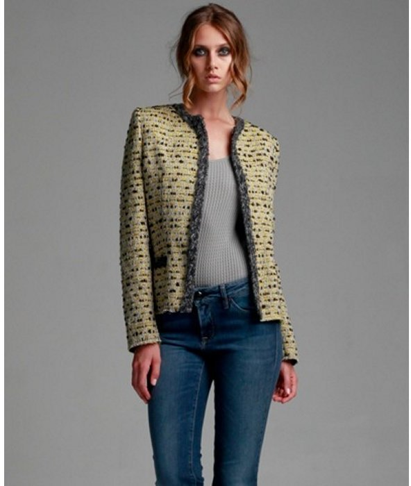 M Missoni yellow wool blend tweed jacket