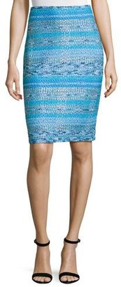 St. John Collection Imani Tweed Knit Pencil Skirt, Blue Pattern $495 thestylecure.com