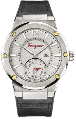 Salvatore Ferragamo 44mm F-80 Motion Leather Smartwatch, Gray