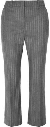 Altuzarra Adler Cropped Pinstriped Wool-blend Flared Pants - Gray