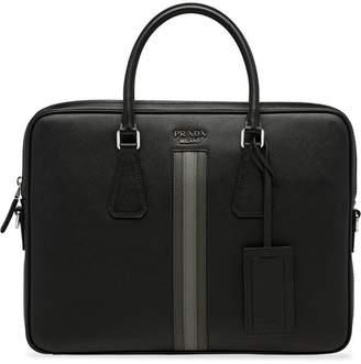 Prada stripe-detail briefcase