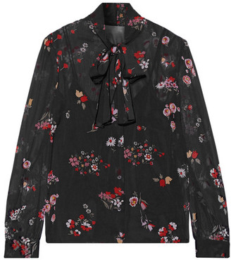 REDValentino - Pussy-bow Printed Stretch-silk Chiffon Blouse - Black $750 thestylecure.com