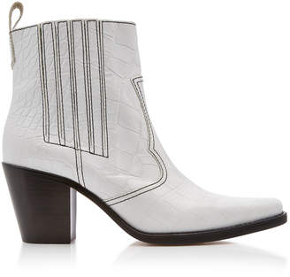 Ganni Top-Stitched Croc-Effect Leather Boots Size: 37