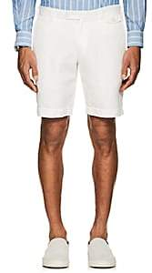Boglioli MEN'S HERRINGBONE-WEAVE COTTON-LINEN SHORTS-WHITE SIZE 38