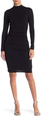 Velvet Torch Ruched Mock Neck Long Sleeve Dress