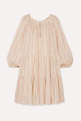 The Great The Prairie Tiered Striped Cotton-gauze Mini Dress - Ecru