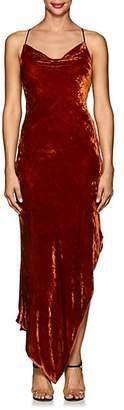 Juan Carlos Obando Women's Asymmetric Velvet Cowlneck Dress - Burnt Orange