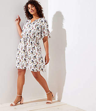 LOFT Plus Wildflower Flounce Dress