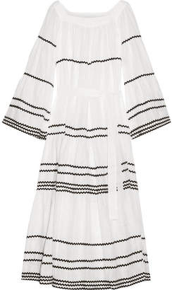 Lisa Marie Fernandez Rickrack-trimmed Linen Maxi Dress - White