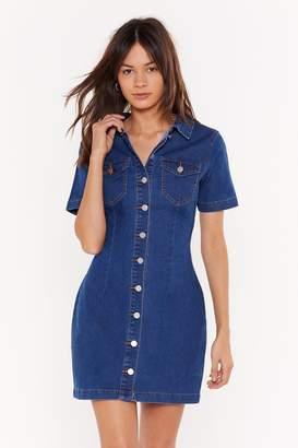 Nasty Gal Womens Stop Pressing My Buttons Denim Shirt Dress - Blue - 6