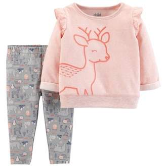 Carter's Child of Mine by Long Sleeve Ruffle Fleece Top & Pants, 2-Piece Outfit Set (Baby Girls)