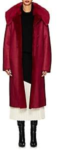Giorgio Armani Women's Reversible Shearling Double-Breasted Coat - Red