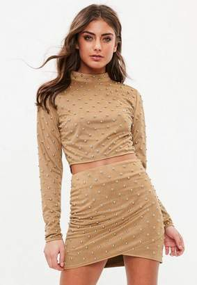 Missguided Tan High Neck Stud Suedette Crop Top