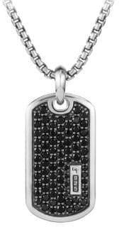 David Yurman Pave Enhancer Black Diamond Dog Tag Necklace