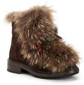 Aquatalia Lilana Suede& Fur Short Booties