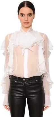 Givenchy Ruffled Sheer Silk Chiffon Shirt