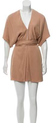 Elizabeth and James Fringe-Accented Wrap Dress Tan Fringe-Accented Wrap Dress