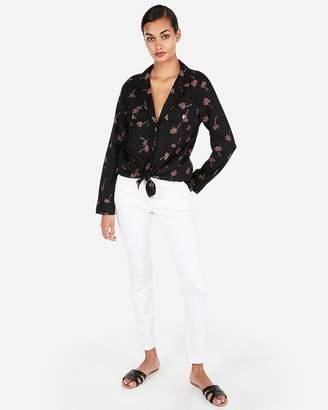 Express Palm Print Long Sleeve Lined-Blend Shirt