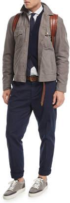 Brunello Cucinelli Flat-Front Twill Pants