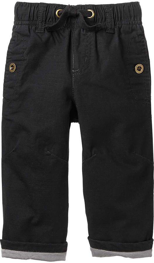 Black Jersey-Lined Ripstop Pants - Infant