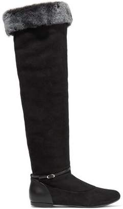Giuseppe Zanotti Design Faux Fur-Trimmed Suede And Leather Knee Boots