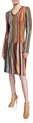 M Missoni Multicolor Striped V-Neck Long-Sleeve Short Dress