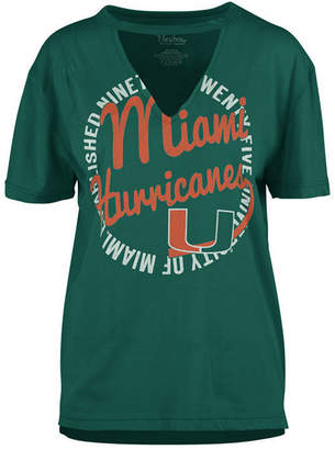 Royce Apparel Inc Women's Miami Hurricanes Cutout V-Neck T-Shirt