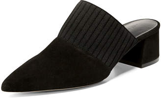 Vince Raven Suede Mule with Pleated Strap, Black