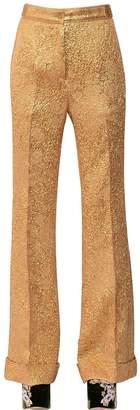 Rochas Wide Leg Silk Jacquard Pants