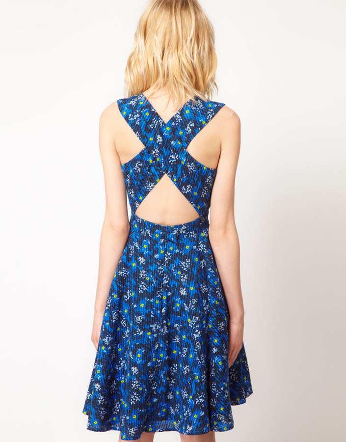 French Connection Floral Print Flared Dress
