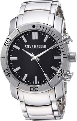 Steve Madden Men's Quartz Stainless Steel and Alloy Dress Watch, Color:Silver-Toned (Model: SMW096)