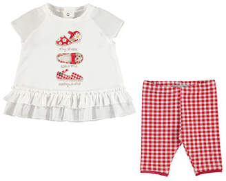 Mayoral Shoe-Print Top w/Gingham Leggings, Red, Toddler