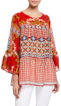 Johnny Was Plus Size Fyson Scoop-Neck Flared-Sleeve Mixed-Print Blouse
