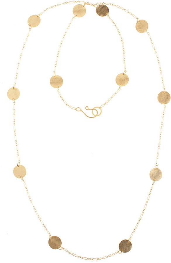 Long Disc Necklace Gold Lg