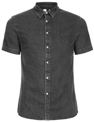 Topman Mens Grey Gray Muscle Fit Short Sleeve Denim Shirt