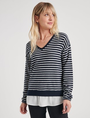 Lucky Brand Striped Woven Sweater Mix