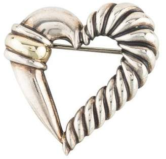 David Yurman Two-Tone Cable Heart Brooch